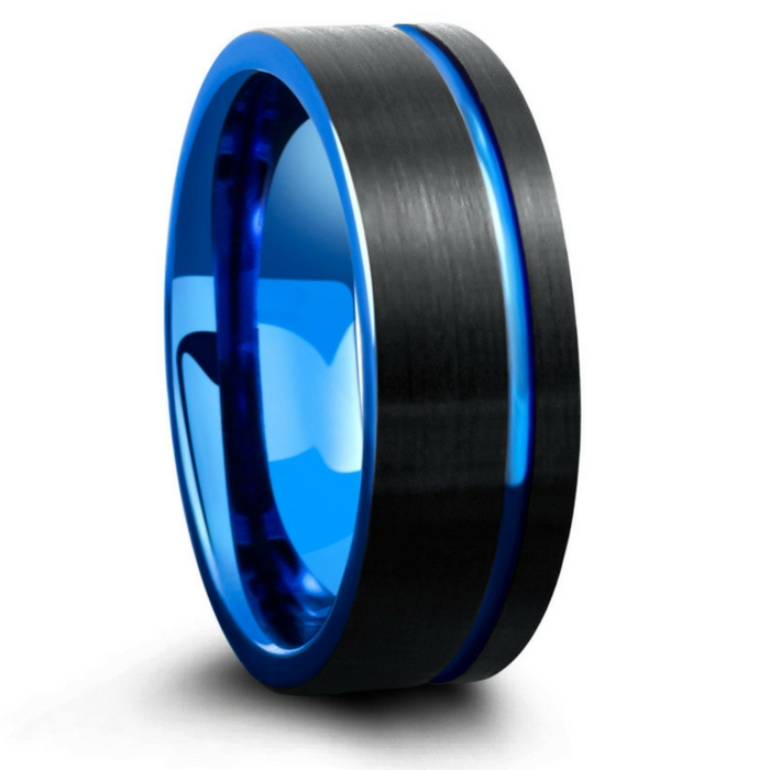 Mens modern wedding ring. Crafted out of tungsten carbide and designed with a brushed textured top with a blue center channel.