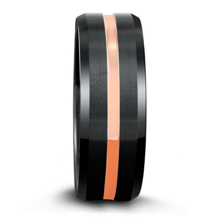 Mens black tungsten wedding ring with a rose gold center channel.