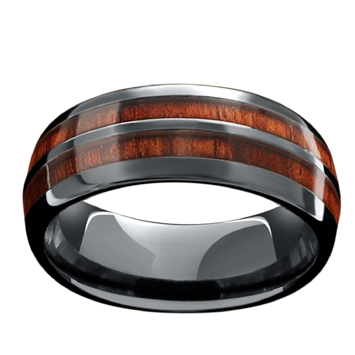 Mens vintage barrel wedding ring. Crafted out of genuine koa wood and made with high tech ceramic.