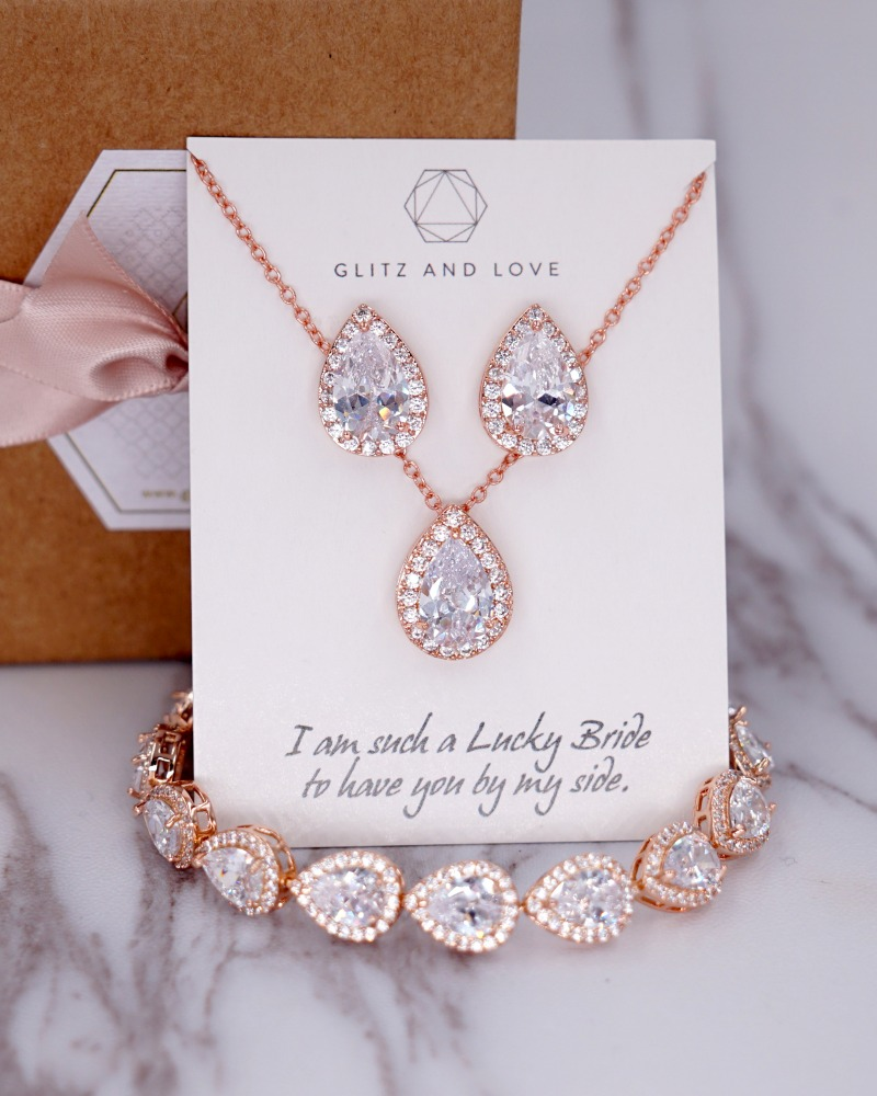 Rose Gold Luxe Teardrop Set for Brides and Bridesmaids. Earrings, Necklace and Bracelet. Cubic Zirconia. Wedding jewelry. Bridal Shower