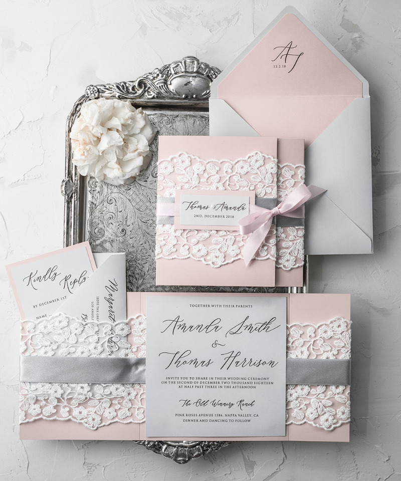 Pink & Grey wedding invitation with real lace