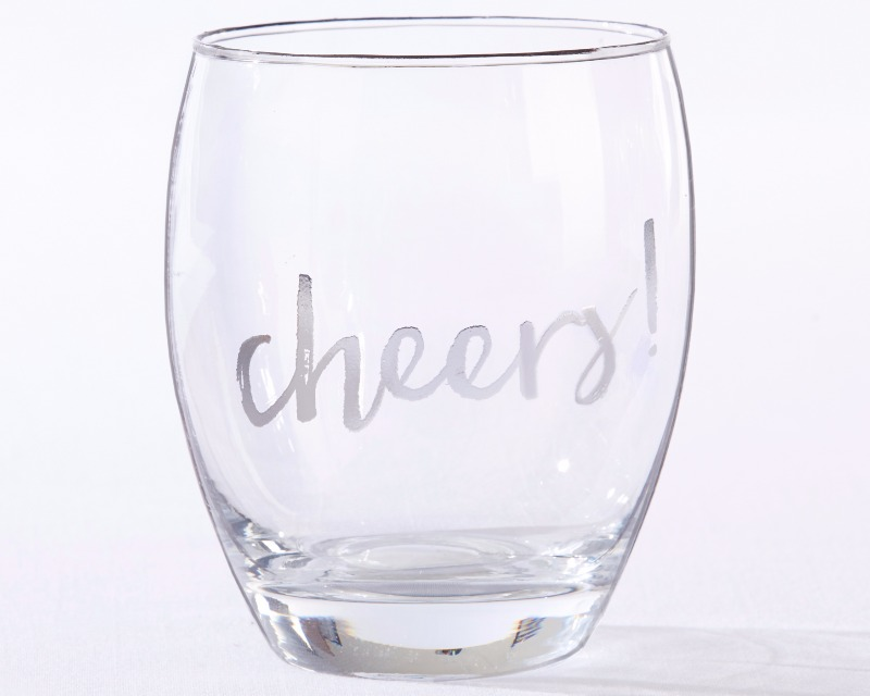 🍷 Keep the feeling of celebration going at your wedding with these Silver Cheers! 12 oz. Stemless Wine Glasses!