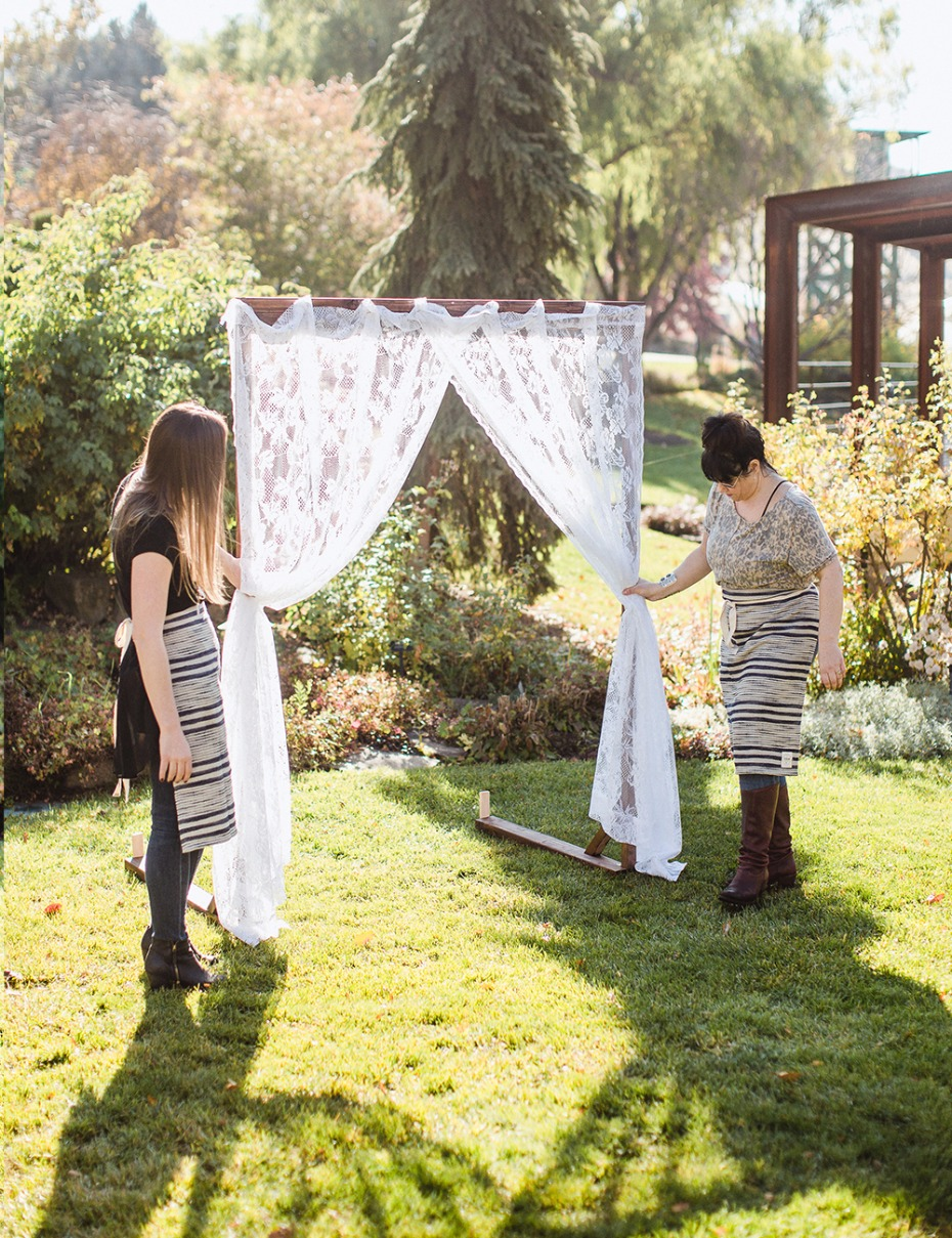 how to make your own lace wedding arbor