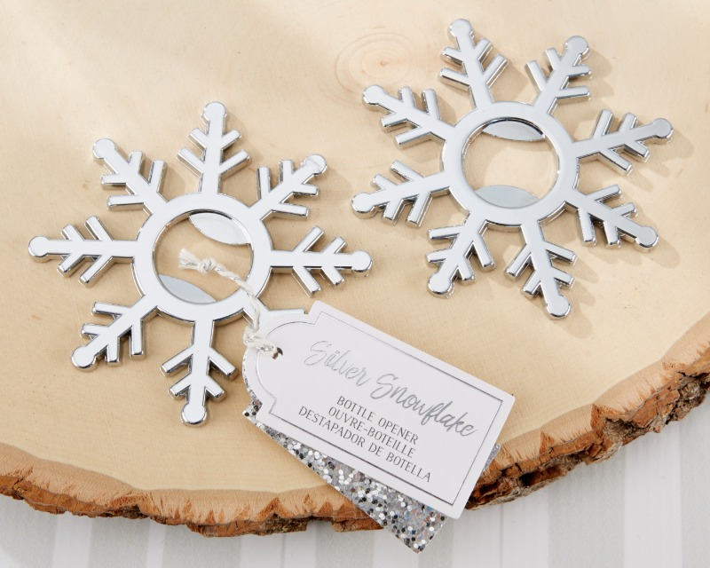 ❄️ Whimsical and elegant, our Silver Snowflake Bottle Opener is a seasonal gift guests can use to keep the celebration going!