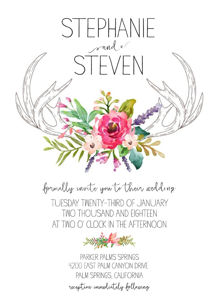 Print: Antlers Free Wedding Invitation Suite