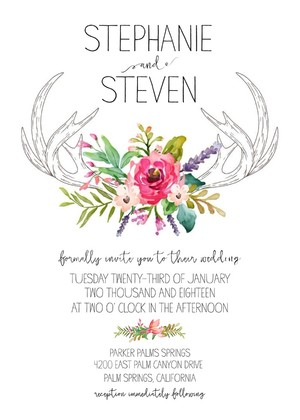 Antlers Free Wedding Invitation Suite