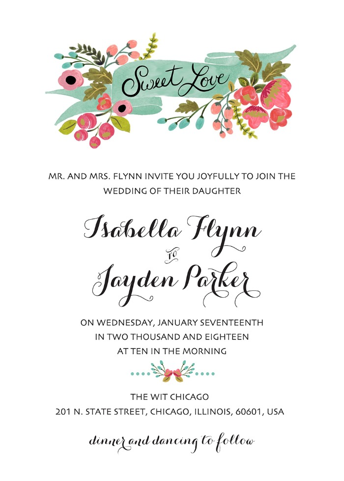 Print: Audrey Free Printable Wedding Invites