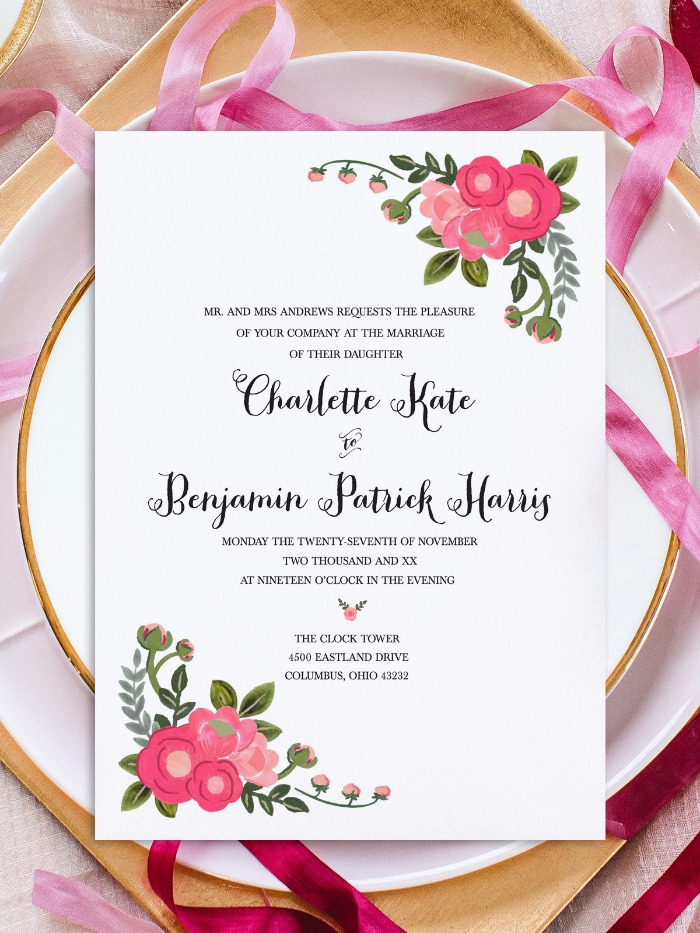 Print - Pink Flowers Free Printable Invitation Templates