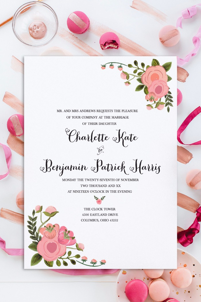 Print Romantic Blush Free Wedding Invitation Set