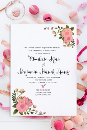 Romantic Blush Free Wedding Invitation Set