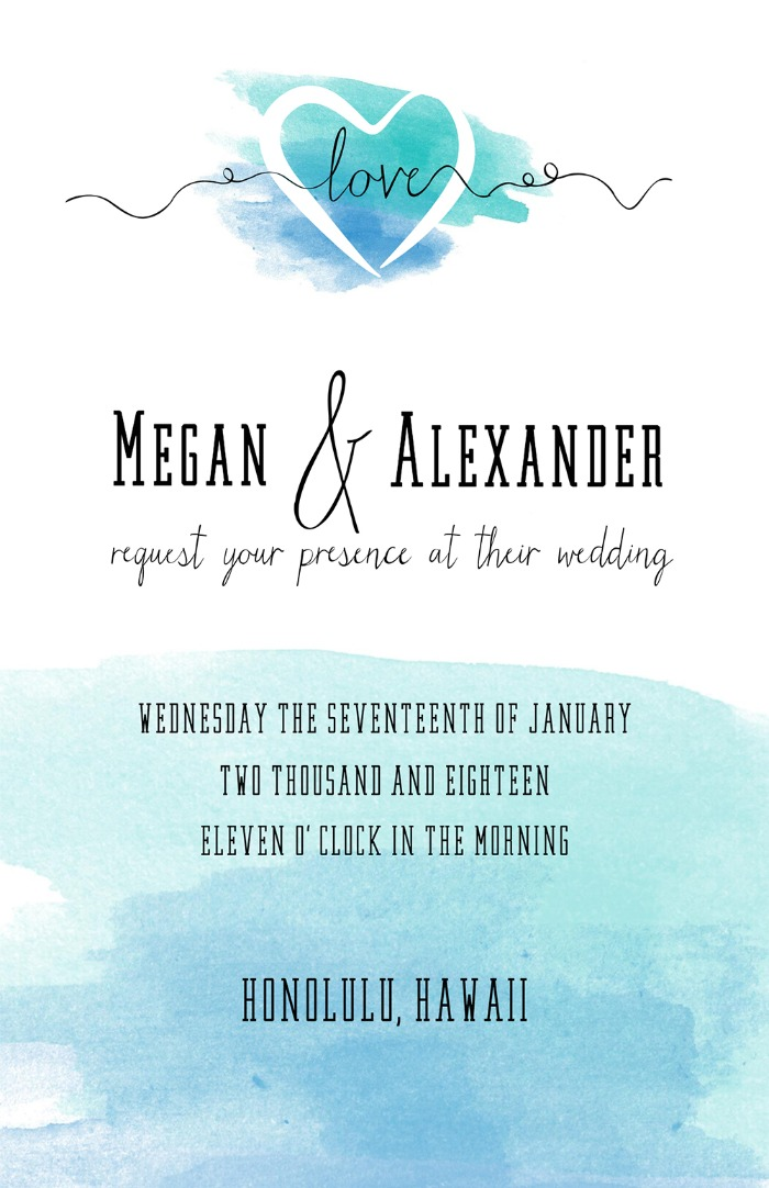 Print: Free Printable Watercolor Wedding Invitation Suite
