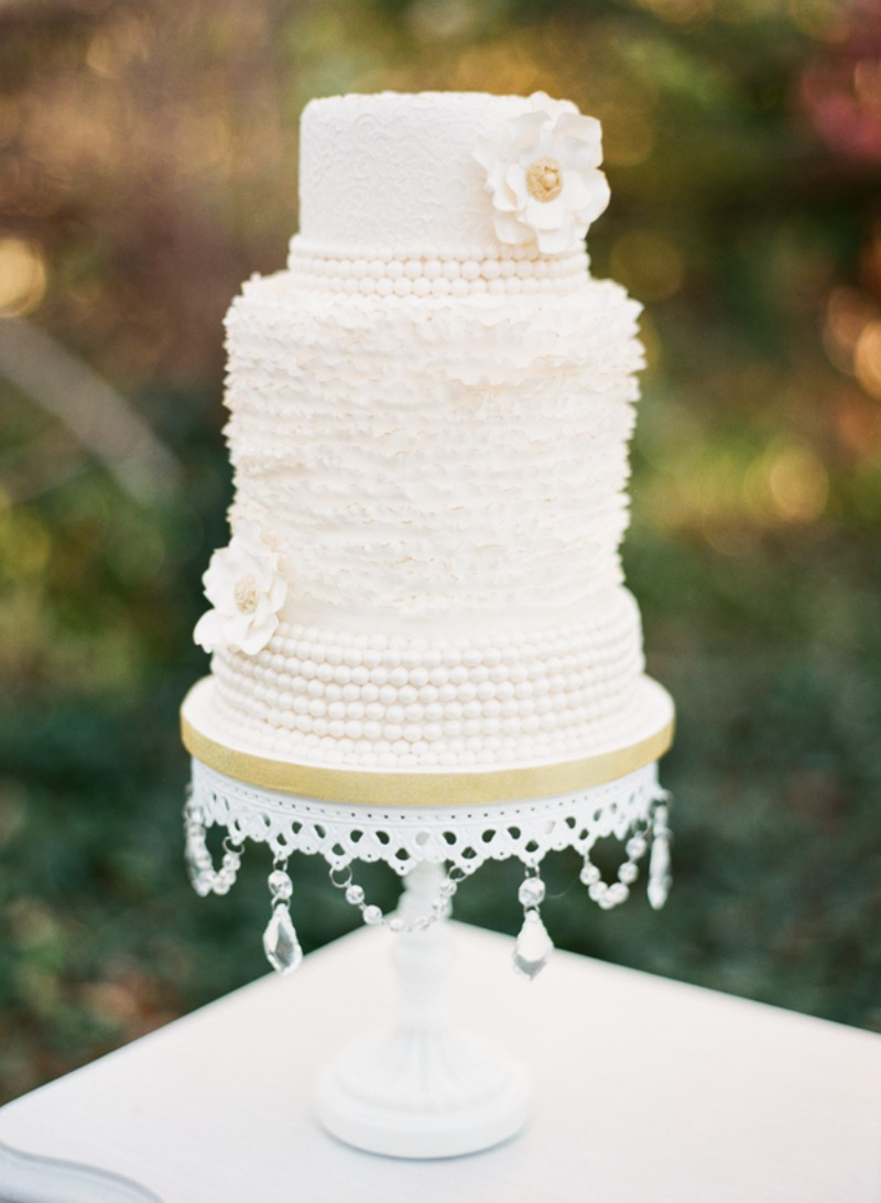 Tiered Wedding Cake with all kinds of gorgeous textures!! White Chandelier Cake Stand created by Opulent Treasures!