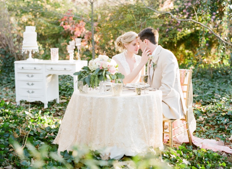Outdoor Wooded Wedding Photo Ideas... Sweetheart Table and Vintage White Desk for Cake Table!