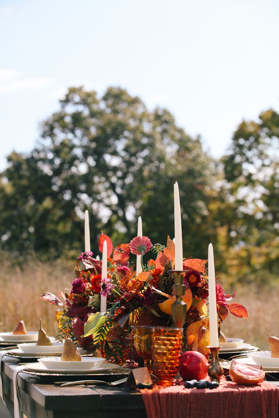 Fall harvest brunch wedding table decor