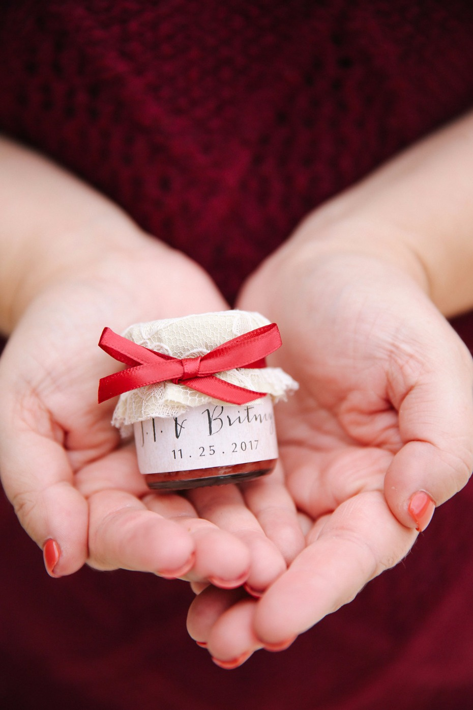 mini jar of jam wedding favor