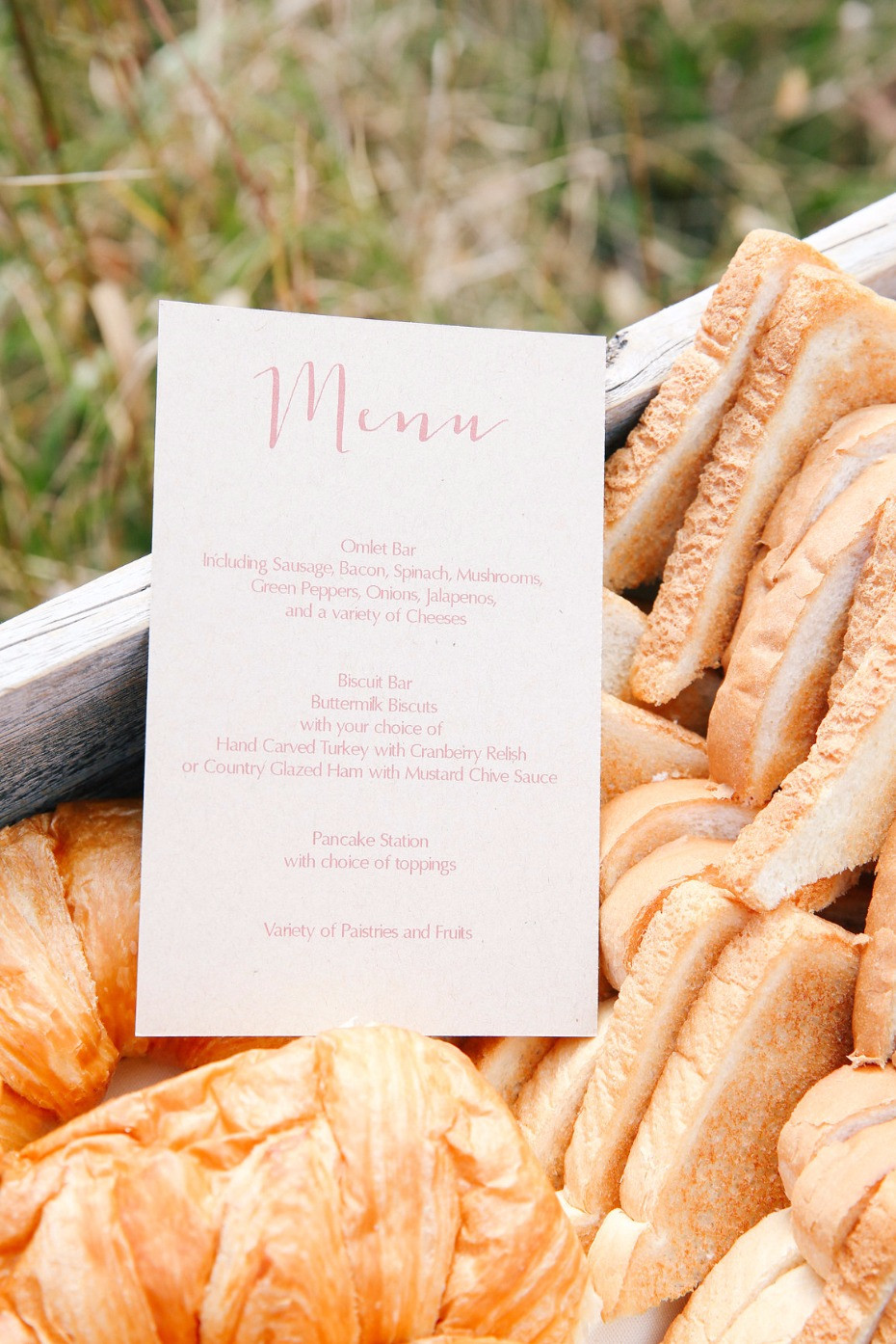 wedding menu for your breakfast bar