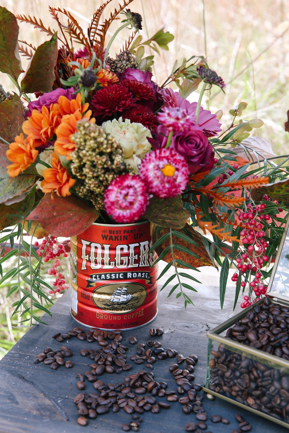 coffee can wedding flower arrangement