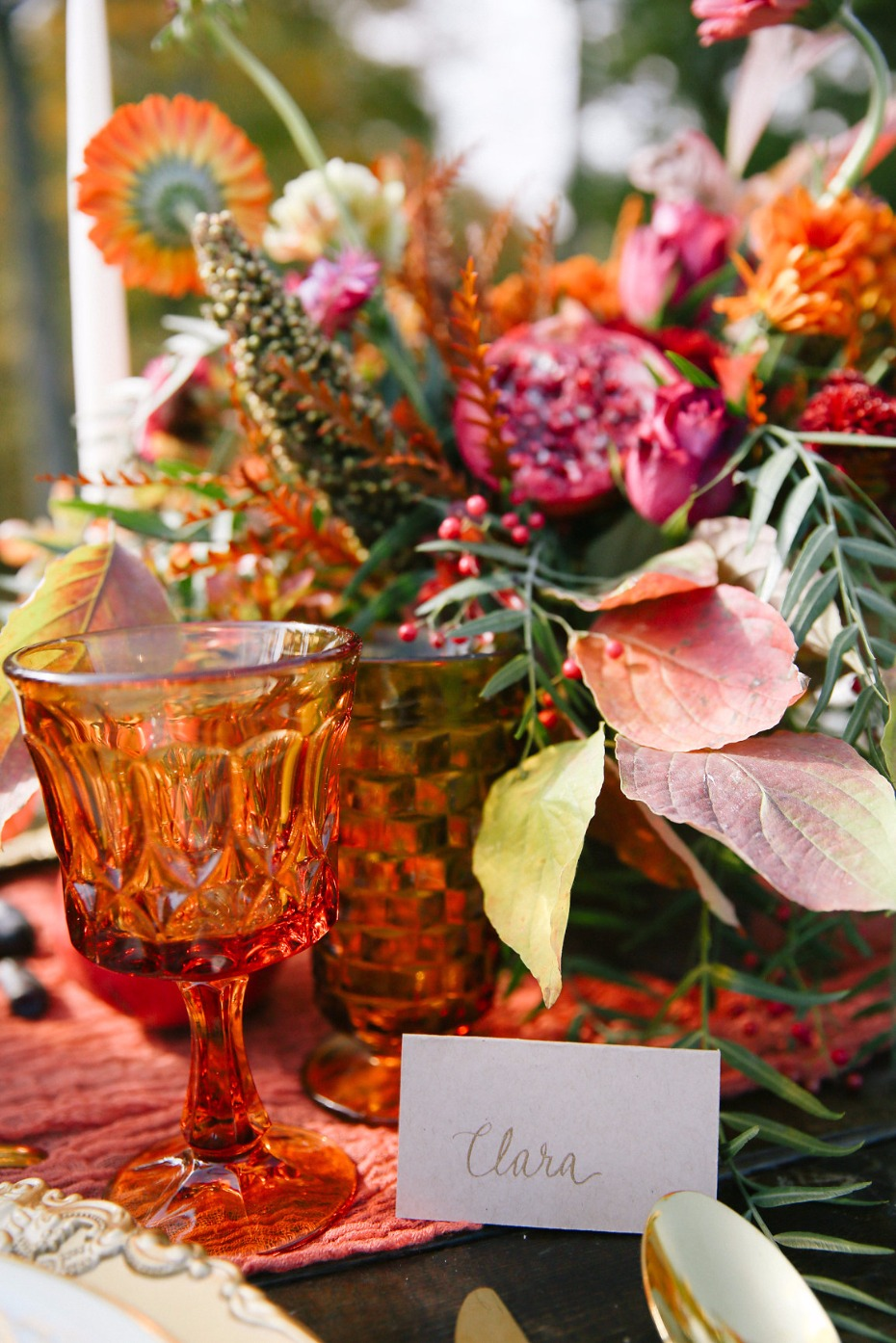 bright orange and harvest colored wedding table decor