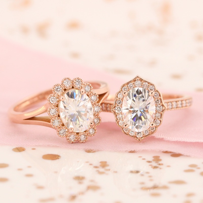 Our Vintage Luna Halo and Vintage Floral Milgrain collection, side by side. Shop all La More Design engagement rings and find the style