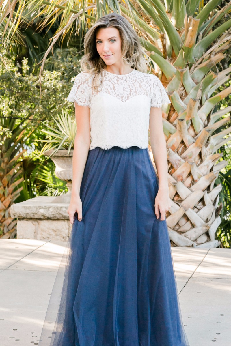 The Charlotte is a classic illusion lace top that will add elegance to any separates look. Mix and match bridesmaid separates.