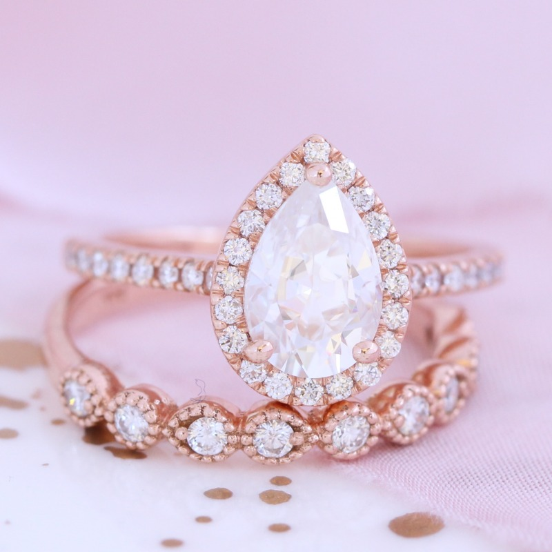 Pear Forever One Moissanite Ring Bridal Set in Rose Gold Diamond Milgrain Band by La More Design in NYC