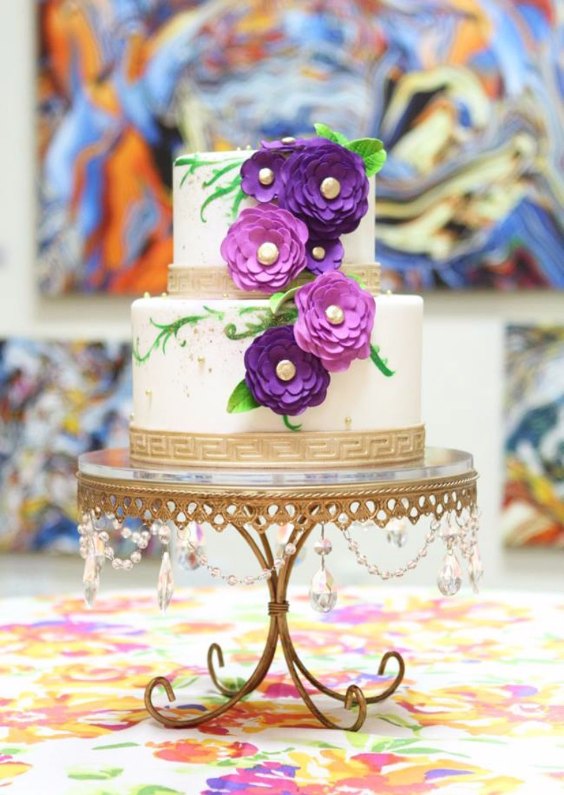 POP of Color & Gold on Gold Chandelier Cake Plate created by Opulent Treasures