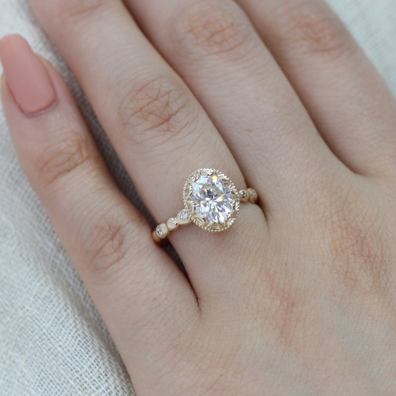 Floral Oval Moissanite Engagement Ring in Yellow Gold Pebble Diamond Band by La More Design in NYC