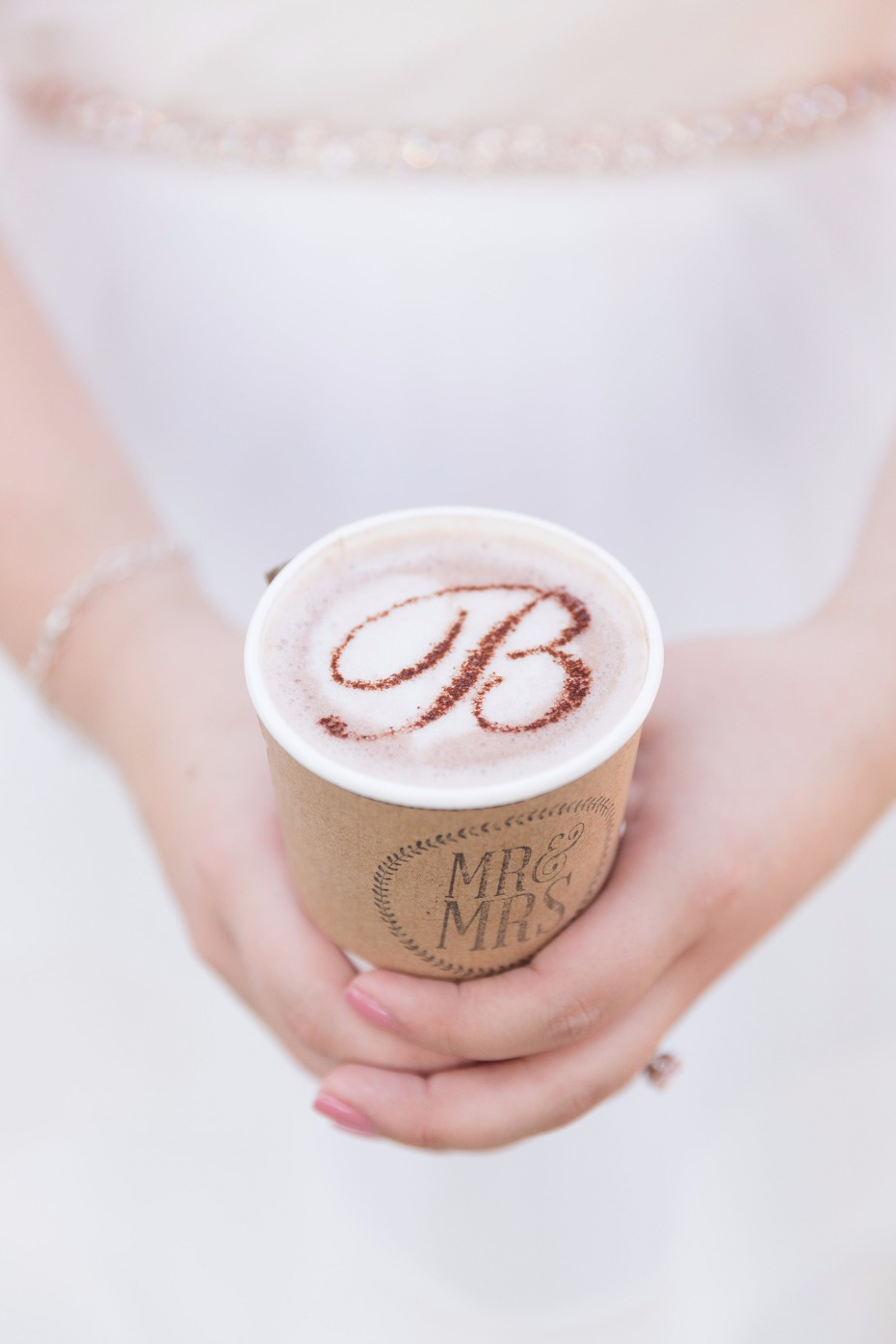 Monogrammed coffee for a wedding