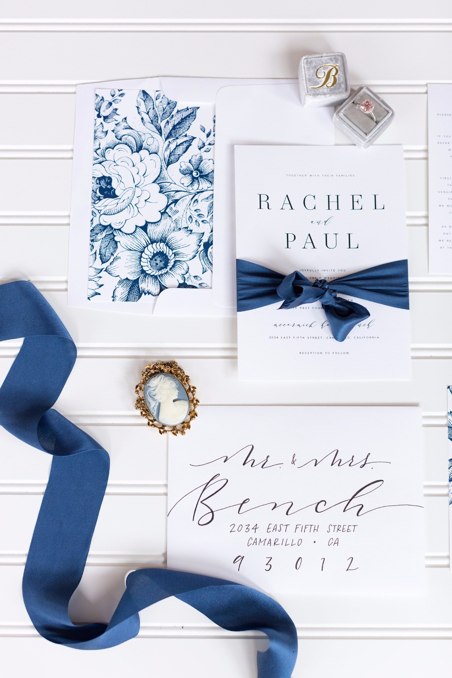 White and navy invitation suite