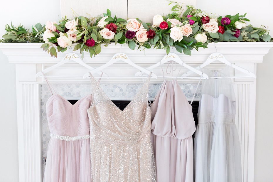 Mismatched bridesmaid dresses from Watters