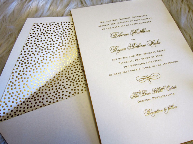 The perfect polka dot pop in this customized William Arthur engraved invitation from Persnickety Invitation Studio.