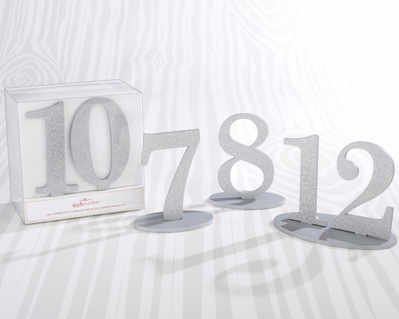 These Silver Glitter Acrylic Table Numbers 7 through 12 are perfect for accommodating larger winter weddings in addition to table numbers