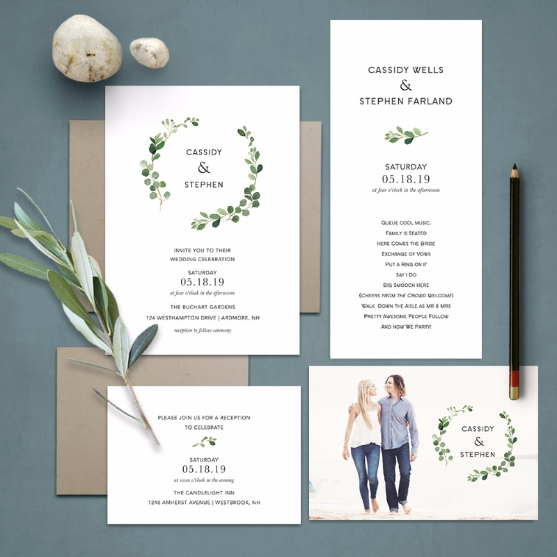 Bohemian Wedding Invitations Greenery Eucalyptus Wreath. This absolutely stunning boho chic wedding invitation features modern greenery