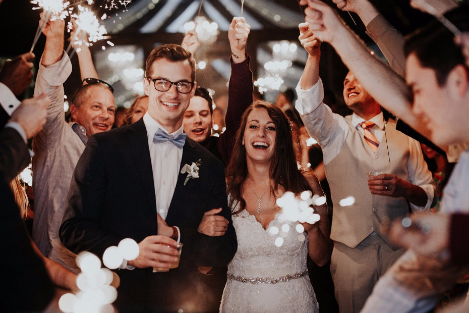 fun filled wedding sparkler exit