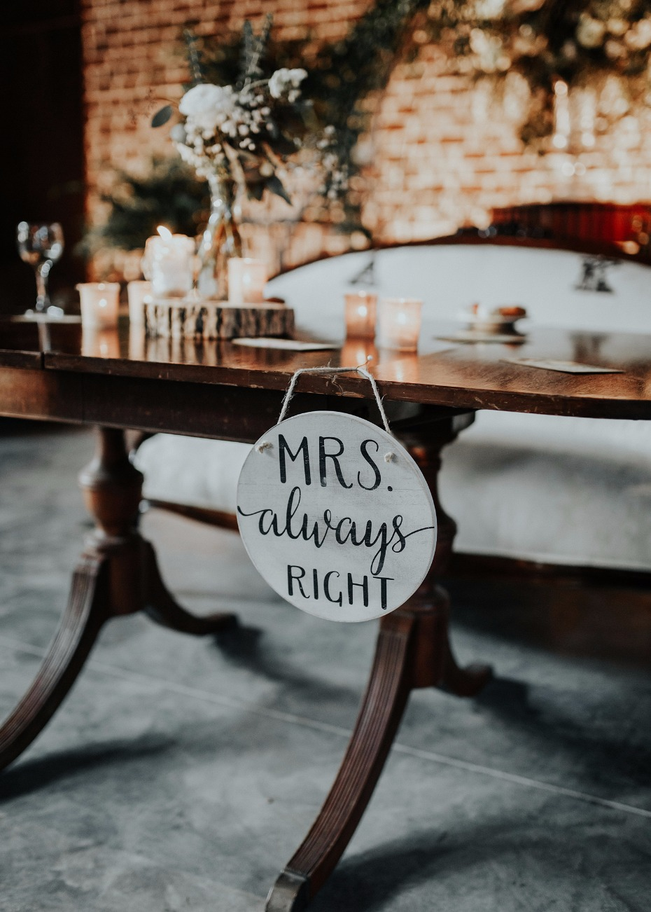 mrs always right wedding sign