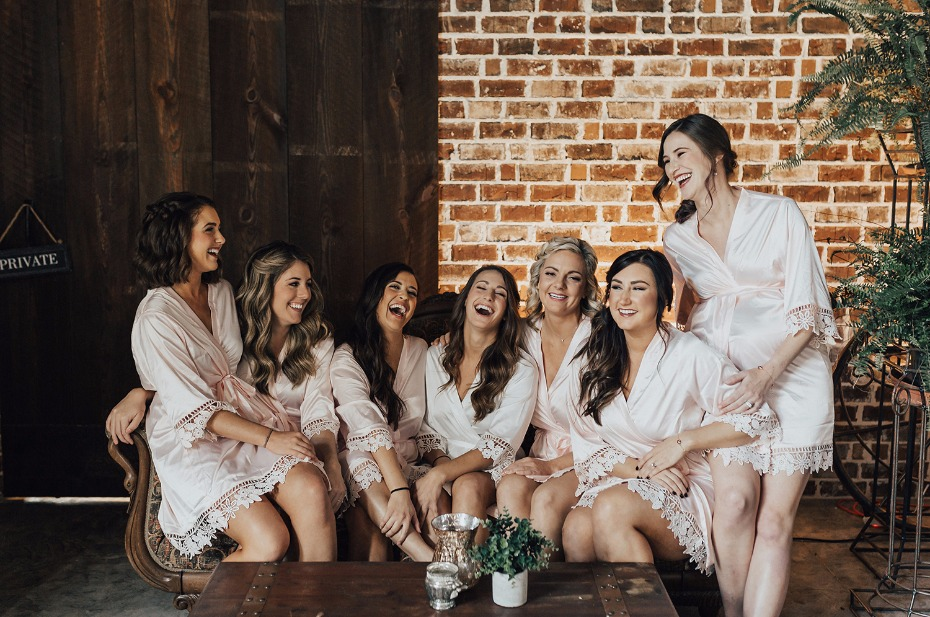bridal party in their matching getting ready robes