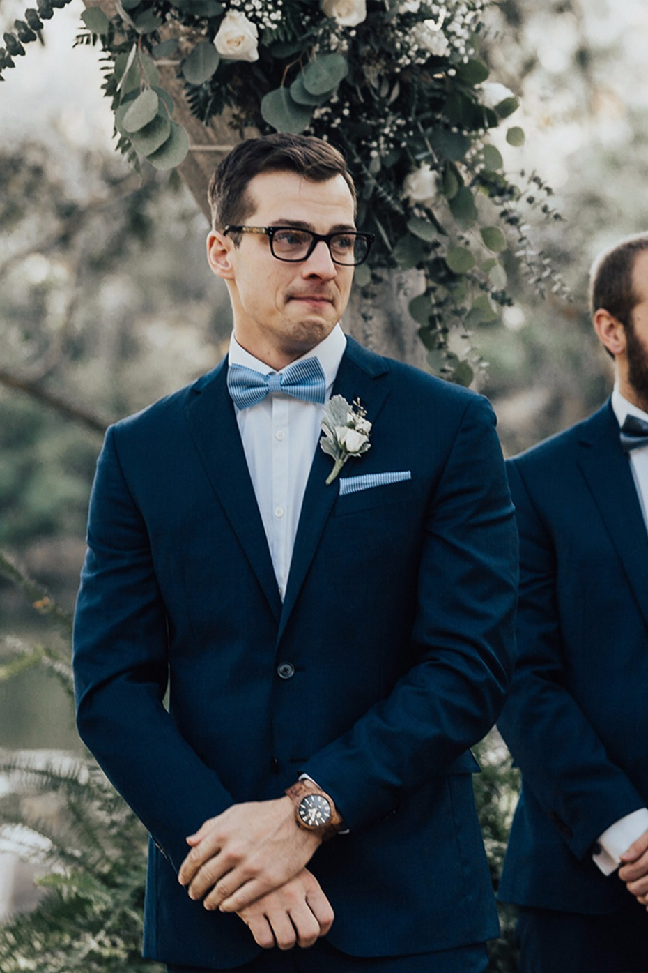 groom breaking up at seeing his bride for the first time