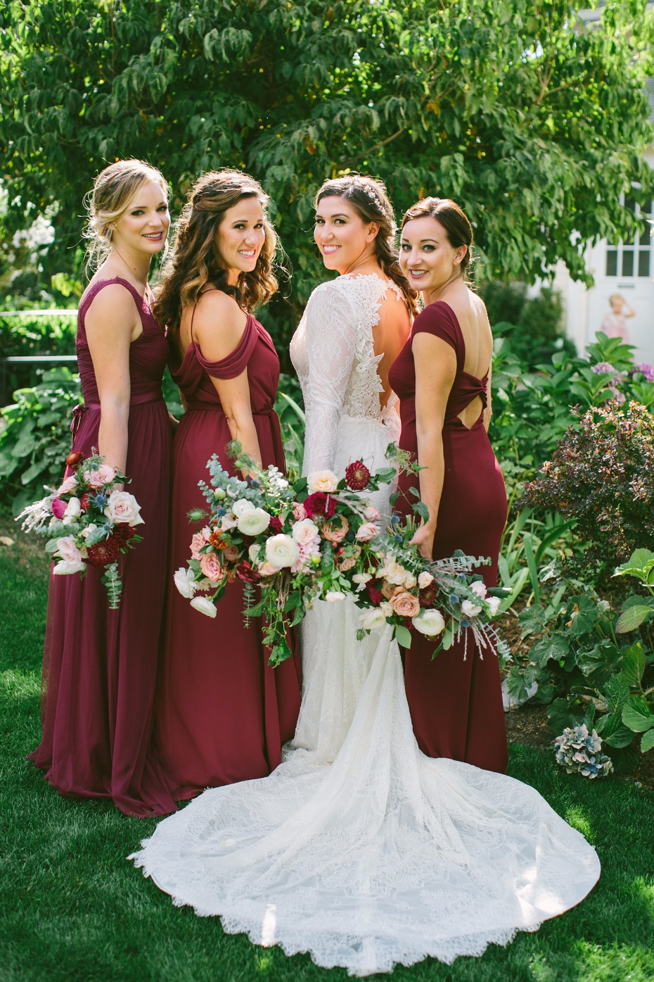 Mix and match burgundy bridesmaid dresses