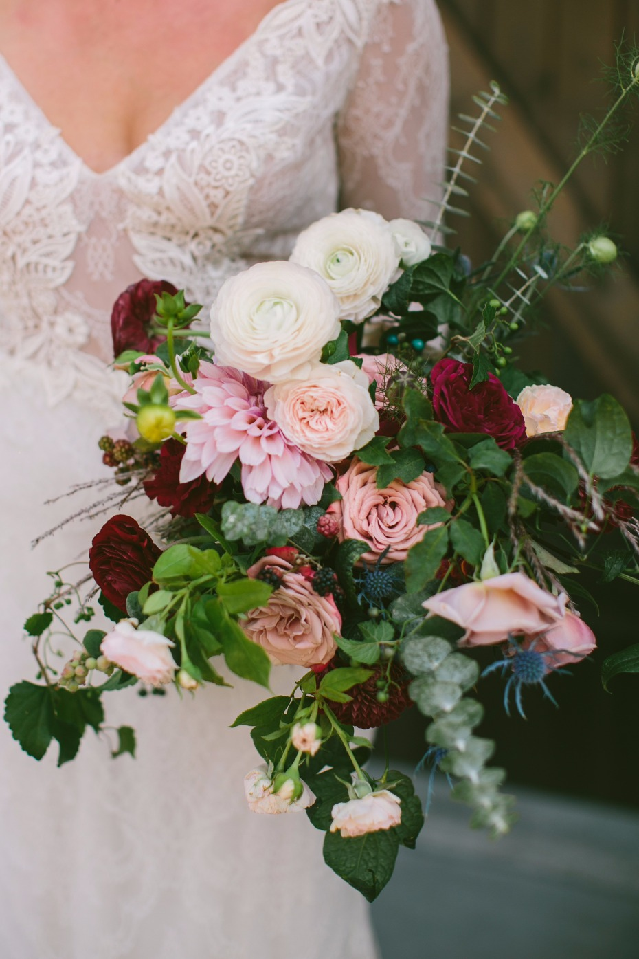 Moody bouquet in blush and burgundy