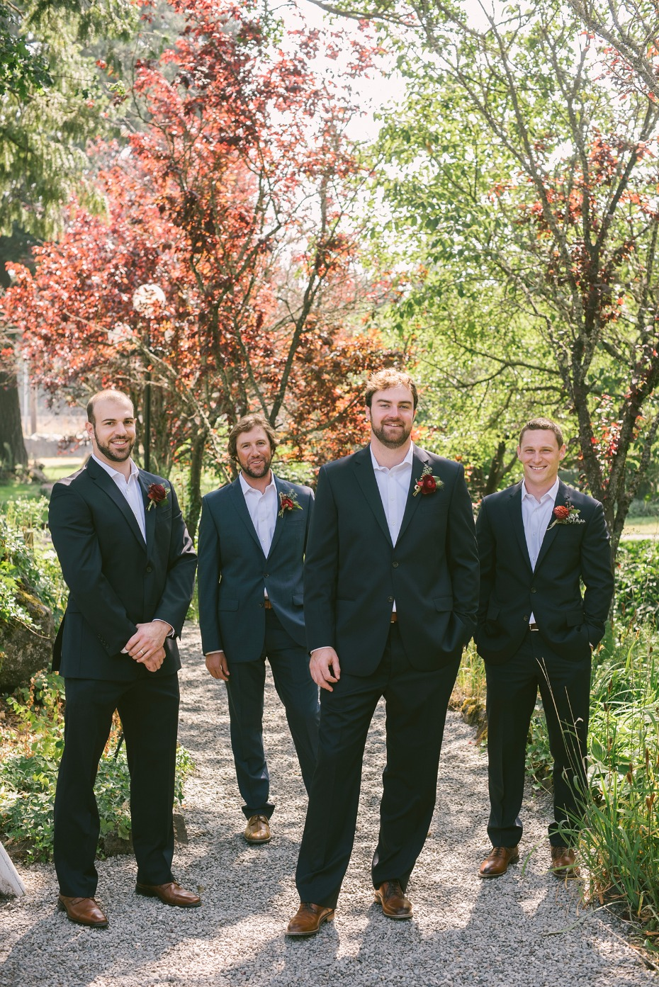 Tie-less groomsmen look