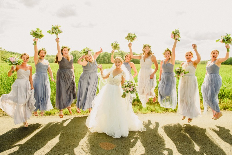 Any bride tribe would be jumping for joy at a Amy McLaughlin Lifestyles wedding!