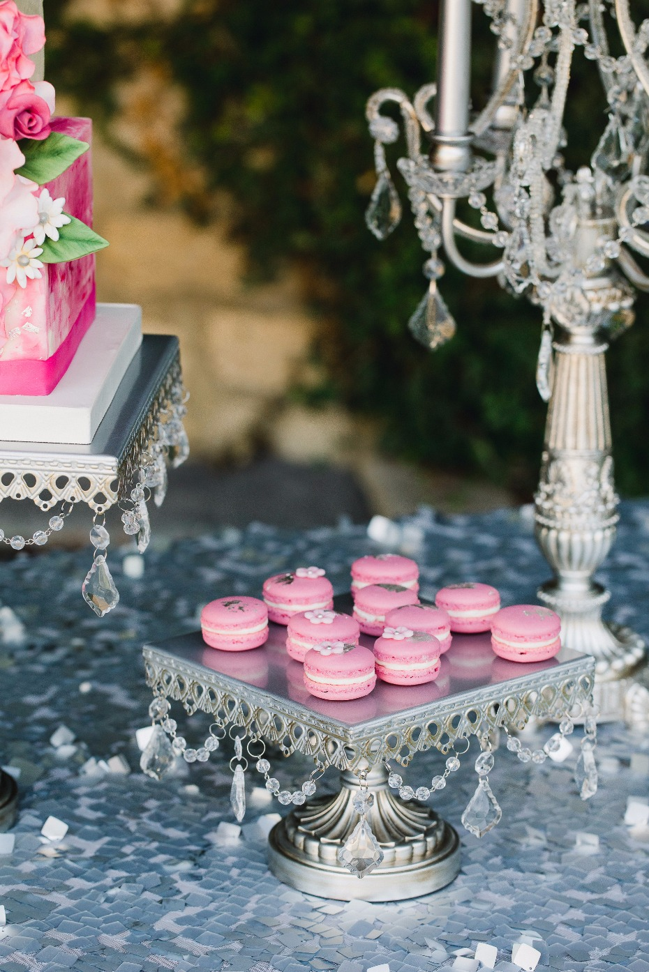mini macron cookies on a vintage cake stand from #opulenttreasures