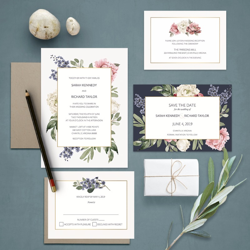 Floral Wedding Invitations 2018 Wedding Trends Collection. Set on an elegant off white background, this watercolor floral wedding invitation