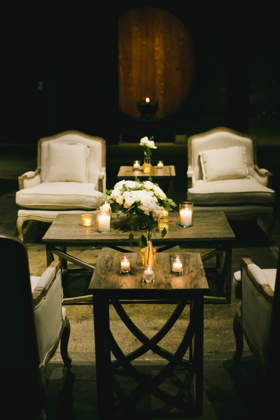 white candle lit wedding lounge