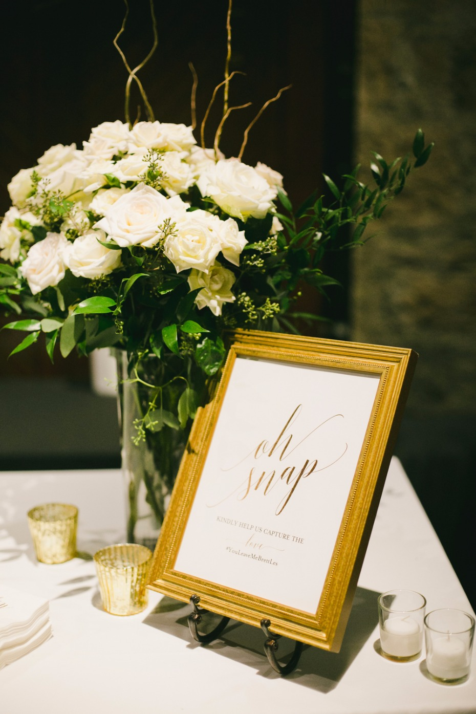 gold calligraphy Oh Snap instagram wedding sign