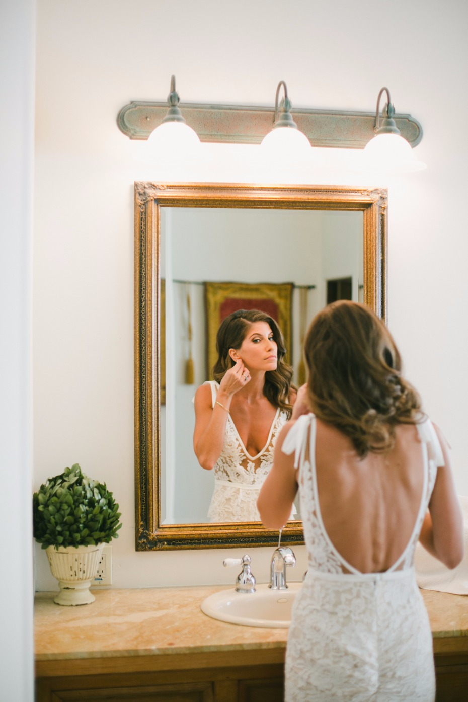 bride getting wedding ready
