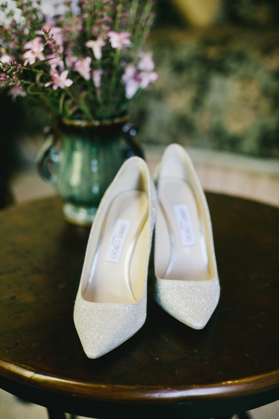 subtle glittery wedding heels
