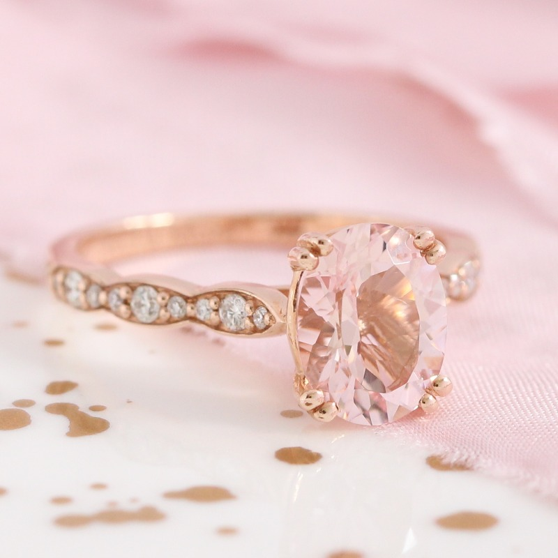 Morganite Solitaire Engagement Ring in Rose Gold Diamond Scalloped Band by La More Design in NYC