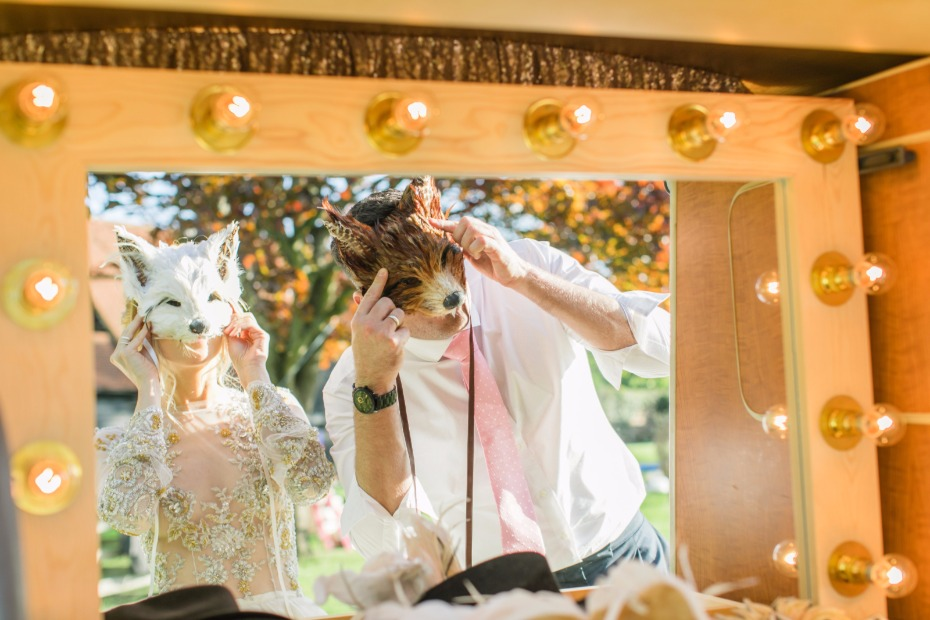 Furry masks for a photo booth
