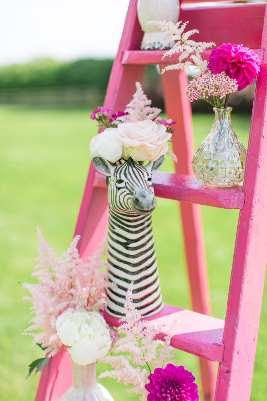 Zebra vase for a circus inspired wedding